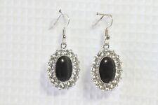 """Paparazzi Earrings (new) Silver oval w/ black center & faux diamonds 2"""" drop"""