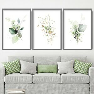 Set of 3 Framed Botanical Herbal Art Prints Green Hand Drawn Pictures Wall Art