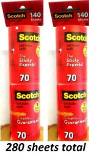2 Scotch-Brite Lint Roller Refill Tears Cleanly Sticky experts  70 sheets x 4 pk