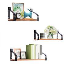 Wall Mount Floating Shelves Set of 3 Rustic Wood Multi-purpose Storage Shelves