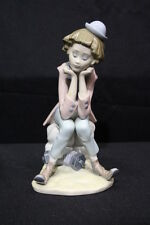 "RARE Vintage Lladro Sitting Girl CLOWN THINKING 9"" Figurine #5058, Spain"
