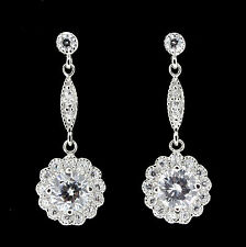 Sterling Silver Bridal Wedding Vintage Inspired CZ Drop Earrings RRP $150