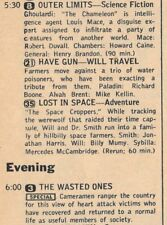 1966 TV LISTING~GHOULARDI SHOW'S THE OUTER LIMITS~CLEVELAND WJW HORROR HOST