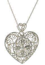 Solid 925 Sterling Silver Genuine Diamond Cross Heart Filigree Pendant Necklace'