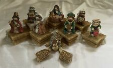 1994 Enesco Cute as a Button Nativity Figurine Set of 8 Wise Men Mary w/ Stage