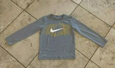 Boys Nike Dri Fit Solid Gray Long Sleeve Graphic T-Shirt Size 7
