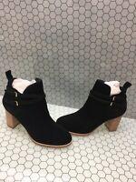 Cole Haan Black Suede Side Zip Buckled Block Heel Ankle Boots Women's Size 8.5 B