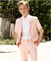 Boys Wedding Suits Pink Groom Tuxedos Page Boy Baby Formal Kids Suit Custom Made