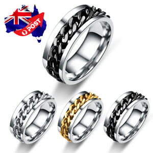 Titanium Stainless Steel 8mm Spinner Ring Curb Chain Band Ring Men & Women Gift