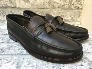 MASSIMO DUTTI MENS BROWN LEATHER TASSLE LOAFERS SIZE 9.5 UK 44 EUR