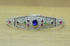 RARE Blue Oval Sapphire Etruscan Silver Bracelet Rubies Emeralds Greek Art