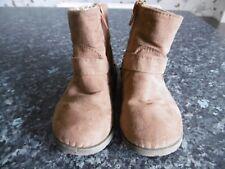 GIRLS BROWN  SUEDE BOOTS - SIZE CHILD'S 6 - ZIP FASTENING