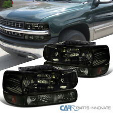 For 99-02 Silverado 00-06 Suburban Tahoe Smoke Headlights+Bumper Signal Lamps