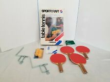 Set Of Vintage 1972 Sport Craft Ping Pong Table Tennis Paddles Net Balls