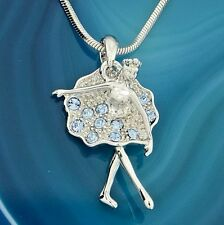 Ballerina W Swarovski Crystal Ballet Necklace Blue Pendant Jewelry Gift