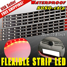 "8x Red 12""/30CM Flexible LED Strip Light Bar 5050 Car Motorcycle Truck Boat 12V"