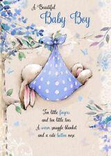 "Glittered Bunny Rabbit Sleeping ""BEAUTIFUL BABY BOY"" Congratulations Card"