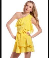 Jay Godfrey Robertson Tiered Ruffle One Shoulder Yellow Dress Sz 8  Retail $395
