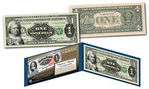 1886 Martha Washington One-Dollar Silver Certificate designed on modern $1 bill