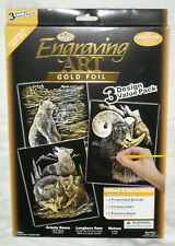New Pack of 3 Engraving Art Gold Foils With Tools Animals - Royal Langnickel