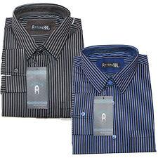 Mens Formal Striped Shirt Regular Fit Blue Black Smart Work