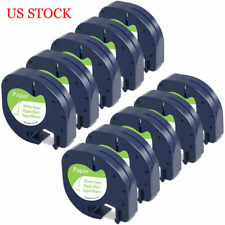 10PK Replace Dymo LetraTag Refill 91330 White Paper Label Tape 12mm 4m LT-100H