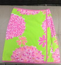 Lilly Pulitzer Wrap Skirt Green Pink Flowered Sz 8 Like New Bright