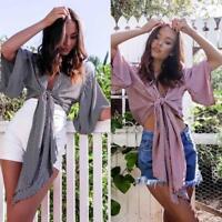 Womens Bandage Neck Short Sleeve Crop Tops Ladies Ruffle Tops Blouses Shirts Q