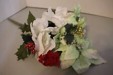 Artificial Flowers Gardenia White & Red Bunch Silk Leaves Wire Stems Xmas