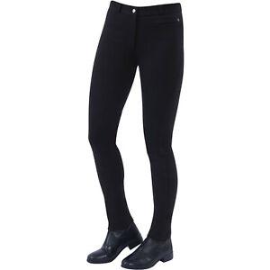 Dublin Supa Fit Zip Up Knee Patch Womens Pants Jodhpurs - Black All Sizes