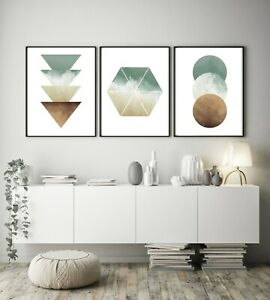 Set of 3 Green Cream Watercolour Abstract Home Poster Print Black Decor Wall Art