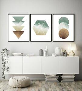 Set of 3 Green Cream Watercolour Abstract Home Poster Print Black Decor Wall Art