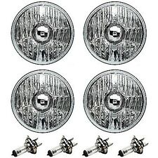 "5-3/4"" Crystal Clear Halogen Headlight Metal Headlamp H4 55/60W Light Bulbs Set"