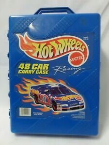 1999 Mattel Hot Wheels 48 Car Carry Case Racing #20020 Blue Plastic Pre Owned
