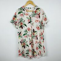H&M Womens Shift Dress Size US 6 AU 10 Floral Short Sleeve Good Condition
