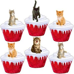 Kitten Cute Cats Stand Up Cup Cake Toppers Edible Birthday Party Decorations