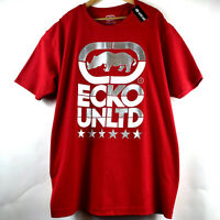 Ecko Unltd Mens 3XL Red Graphic T-Shirt Rhino Logo Print Tee Silver Size 3XL