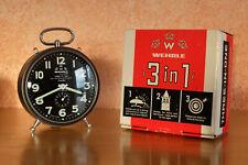 WEHRLE THREE IN ONE mechanischer Wecker Uhr Weckwerk Schlagwerk Rarität OVP neu!
