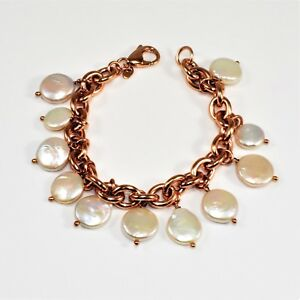 HONORA Italy Reversible Cultured Pearl Charm Oval Link Rose Bronze Bracelet