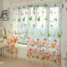 Butterfly Voile Curtain 1M x 2M White/Pink/Orange/Green/Multi/Colourful  NEW