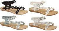 Ladies Summer Sandals Flower Diamante Elasticated Cushioned Holiday UK Sizes 4-8