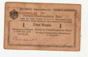 ++DOA  GERMAN EAST AFRICA  1 Rupie 1.2.1916  Ro 928 aa Serie  F3  ab 1,-- ++