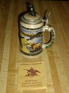VINTAGE ANHEUSER BUSCH BUDWEISER LIDDED STEIN HUNTERS COMPAINION SERIES & PAPERS