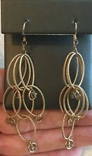 "Vintage Chain Dangle Earring 3"" Gold-Tone Fringe Cascade Bead Accent Boho"