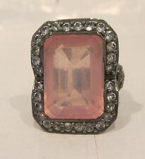 Estate Ring   Rose Quartz White Sapphires  Sz 7 Mint Silver Black Rodium
