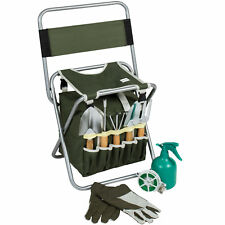 Outdoor 10-Piece Gardening Tool Set Detachable Tote Bag And Folding Chair Seat