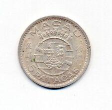 Portugal Macao Macau 5 Patacas 1971 Silver