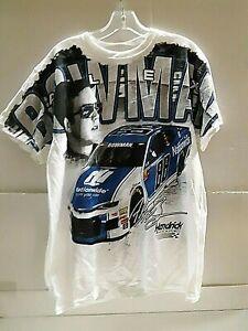 Alex Bowman # 88 Nascar White Total Print T-shirt, Size Medium