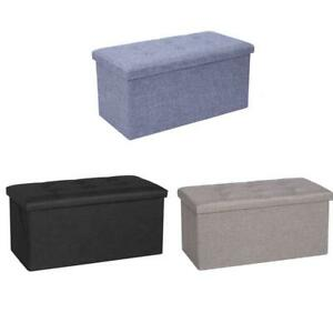 2 SEATER LARGE FOLDING STORAGE OTTOMAN BENCH SEAT BLANKET TOY BUTTON CHEST BOX
