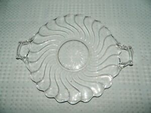 Clear Glass Twisted Handled Serving Tray Colony by Fostoria